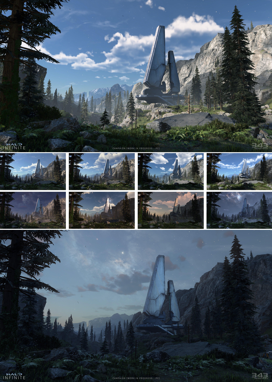 Cette compilation d'images illustre l'éclairage de l'heure dans Halo Infinite.
