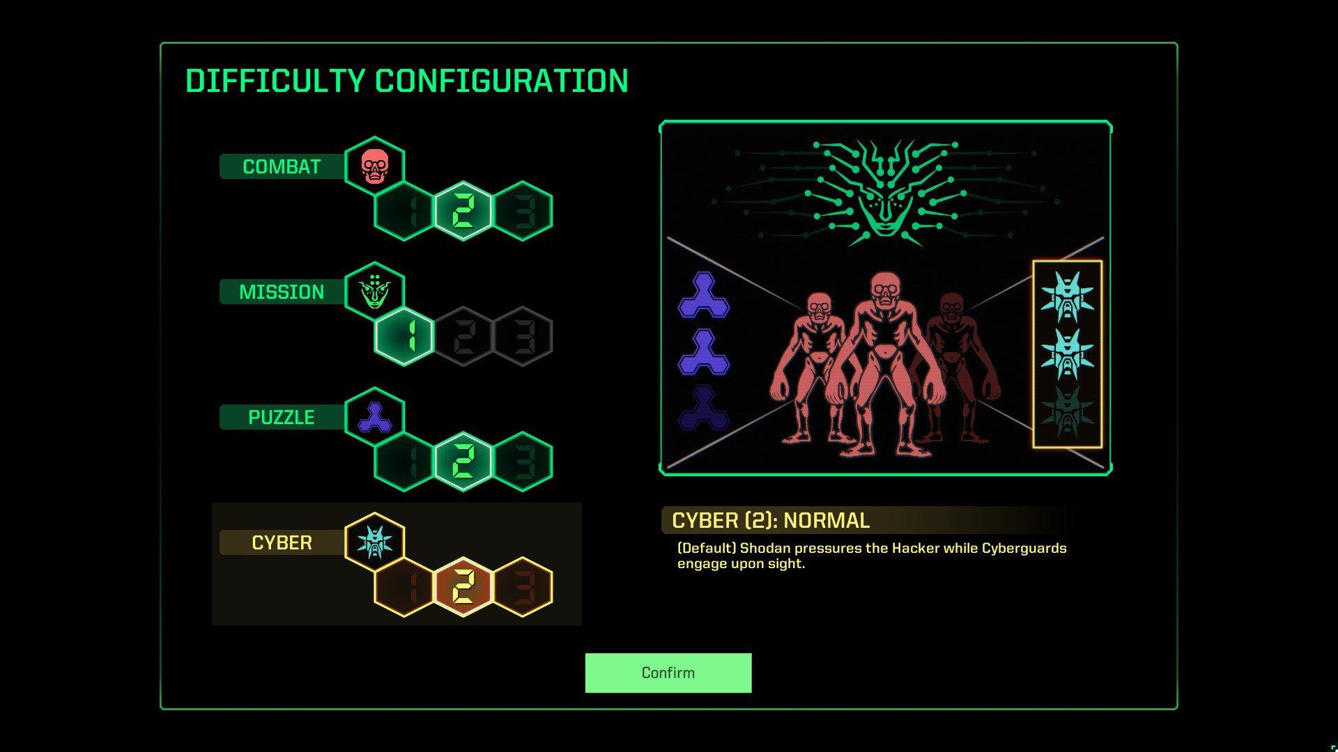 Vous pouvez modifier le combat, la mission, le casse-tête et la cyber difficulté dans System Shock (2021).