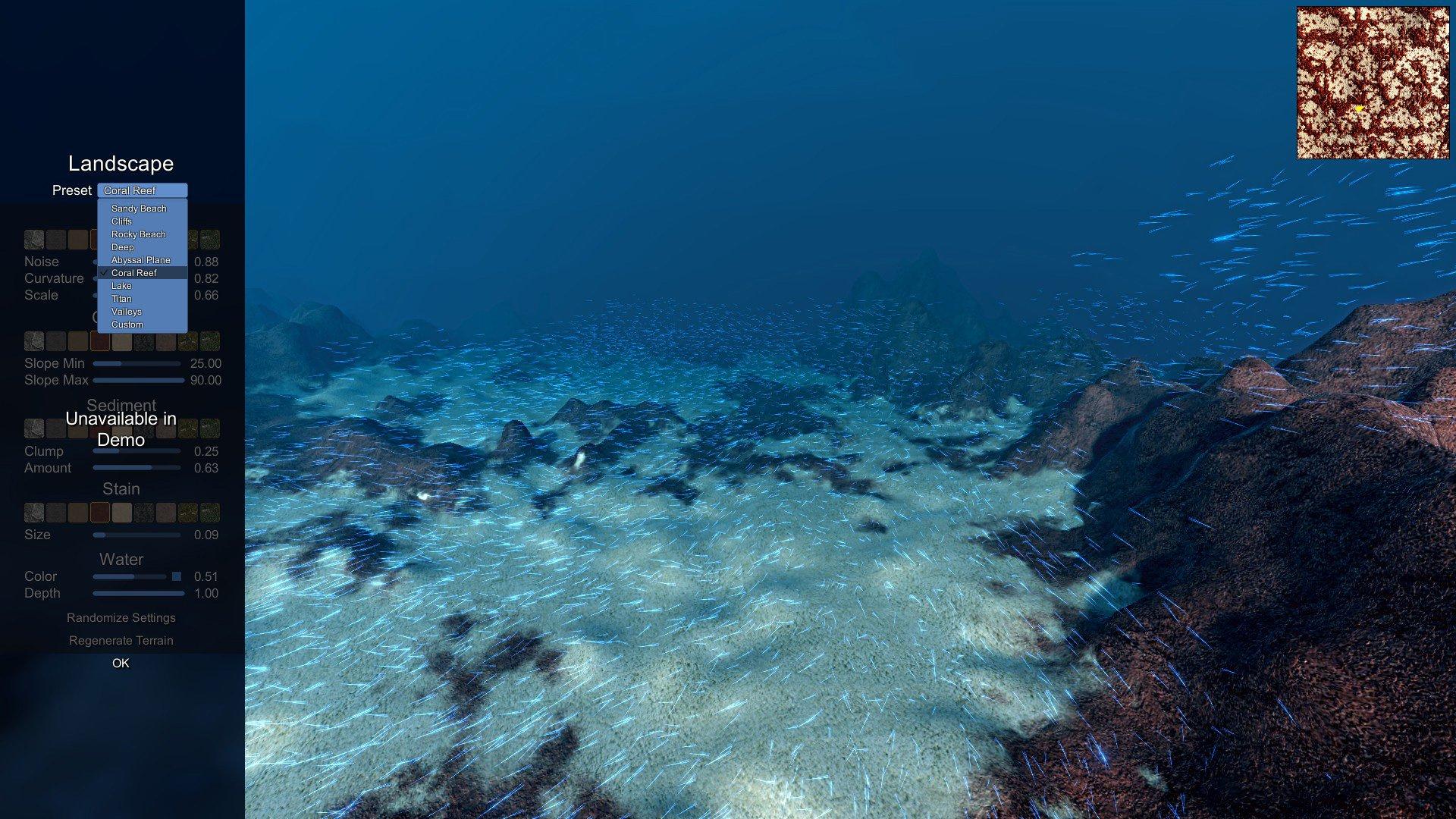 """La démo pour Ecosystem limite les paramètres de randomisation et les options affinées, mais vous pouvez choisir un préréglage comme """"coral reef"""" ou """"lake""""."""
